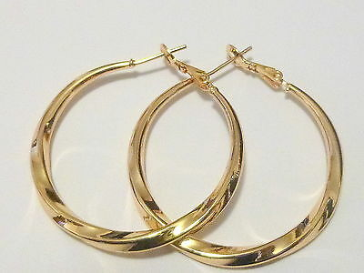 Huge 14 kt yellow gold Hoop earrings -