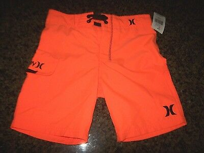 Hurley swimsuit boys youth board shorts swim trunks solid orange 6 10 14 16 18
