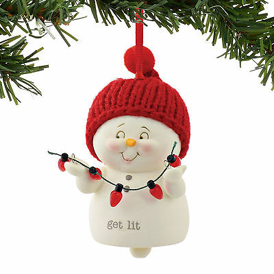 Dept 56 Christmas Snowpinions Get Lit Ornament Bell New 2016 4056906