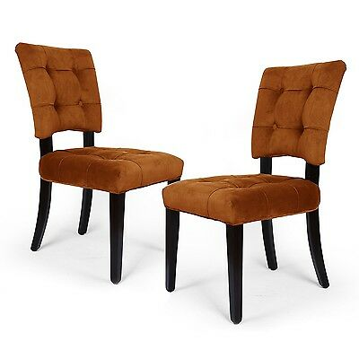 Adeco Side/ Dining Velvet Dining Chair with Solid wood legs ,Amber, Tufted,Set2