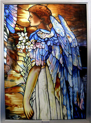 "CHRISTIAN GIFT New Glassmasters  ""RESURRECTION ANGEL"" Stained  Glass Panel, New"