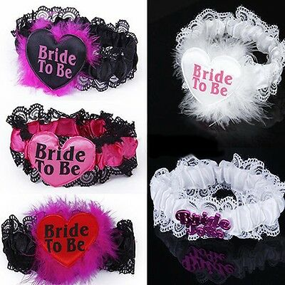 Bride To Be Lace Garter White & Pink Hen Night Party Accessories Wedding Bridal