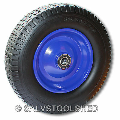 """16"""" Puncture Proof Rubber Wheel Barrow Cart Tyre Solid Flat Free Tire 25mm Bore"""