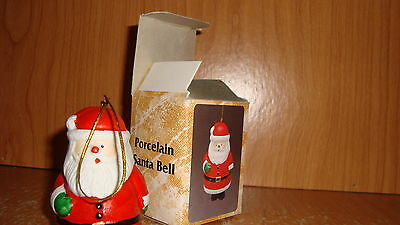 "Porcelain Santa Bell - age unknown -appr. 3"" tall - boots for clanger! - in box"