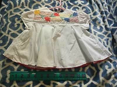 Vintage 1960s Multi-Colored Embroidered Girls Top-Toddler Size-No Name-Mended