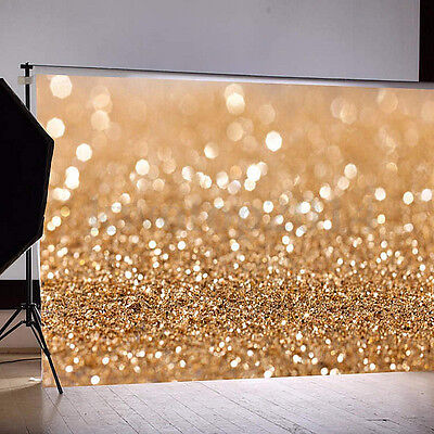 7x5FT Gold Glitter Sequin Spot Background Backdrop Photography Studio Prop Vinyl