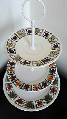 3 Tier Cake Stand Vintage Retro Plates Kathie Winkle Wedding Gift High Tea