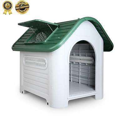 New Pet DOG KENNEL Weatherproof Plastic Outdoor Indoor Puppy Garden House Large