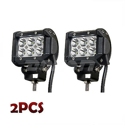 Pair 4inch CREE 18W LED WORK LIGHT BAR Spot Beam Offroad Boat SUV Truck Lamp UTE