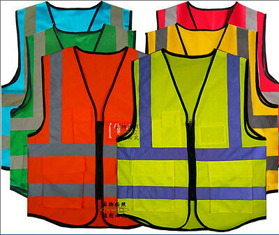 Hi-Vis Safety Vest Uniform Work Jacket Reflective Protective Security Overalls