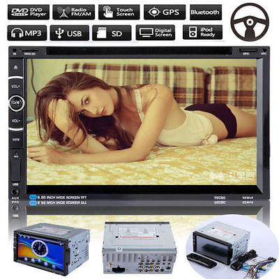 "7"" HD Double 2 DIN Bluetooth GPS Navigation Car Stereo Radio CD DVD Player Touch"