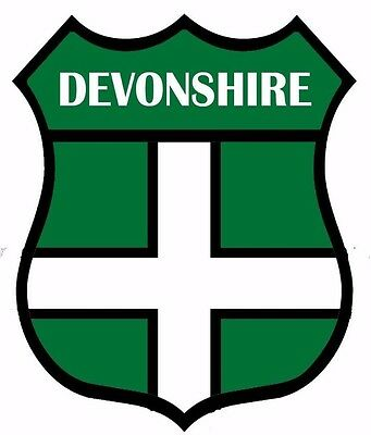 1 x Devon Devonshire Flag Decal Car Motorbike Laptop Window Sticker - Free P & P