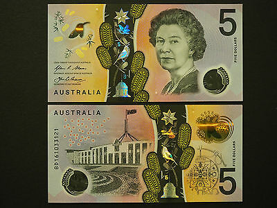 Australia Banknotes  -  2016 New $5   !!!!  -   Brilliant Polymer  -  Gem Notes