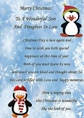 Son And Daughter In Law Christmas Card By Wishing Well ~ Verse ~ Luxury Card • £3.49 - PicClick UK