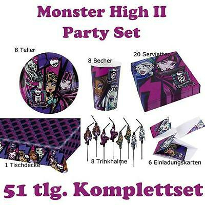 51 tlg. Party Set Monster High II Kinder Geburtstag Halloween Party Deko