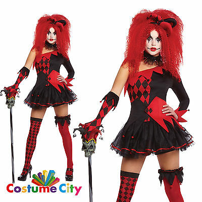 Womens Ladies Jesterina Harlequin Clown Halloween Jester Fancy Dress Costume