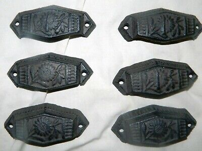 Lot Of 6 Ornate Industrial Tool Grain Parts Bin Drawer Handles Pulls Cast Iron