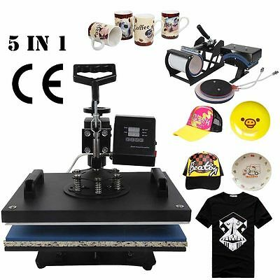 5 in 1 T-Shirt Heat Press Machine Latte Mug Hat Cup Sublimation Printing IN UK