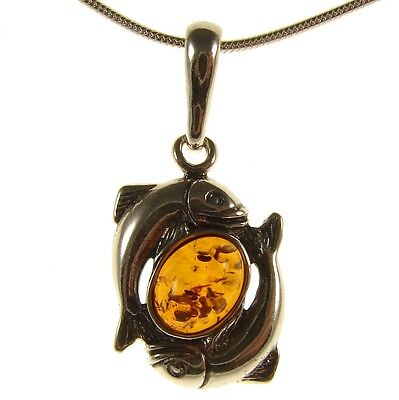Baltic Amber Sterling Silver 925 Pisces Fish Astrology Pendant Jewellery Jewelry