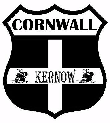 1 x Cornwall Kernow Flag Decal Car Motorbike Laptop Window Sticker - Free P & P