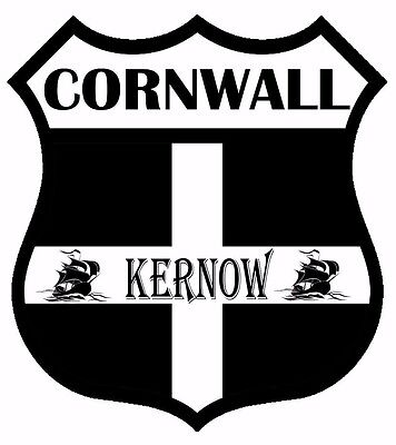 2 x Cornwall Kernow Flag Decal Car Motorbike Laptop Window Sticker - Free P & P