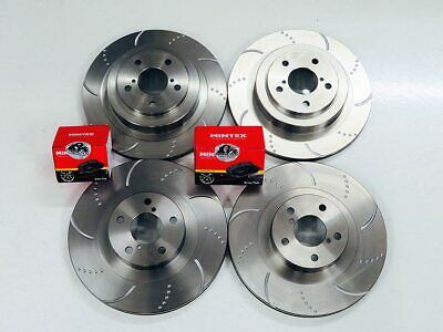 Front Rear Brake Discs for Subaru Impreza WRX 2.0 2.5 Dimpled Grooved & EBC Pads