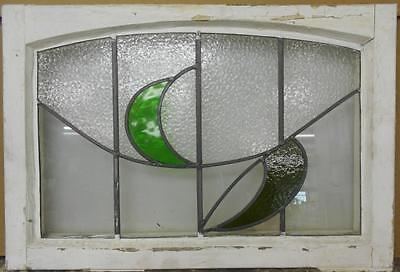"MID SIZED OLD ENGLISH LEADED STAINED GLASS WINDOW Arched Leaf 27.25"" x 18.5"""