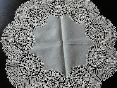 Beautiful Vintage Handmade Ecru Linen Round Tablecloth Cotton Crochet Lace