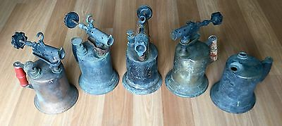 Old Vtg Antique Plumbing Brazing Otto Bernz Co Oil Pump Brass Blowtorch Lot Of 5