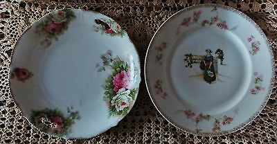 2 PLATES ROSES HANDPAINTED AUSTRIA M&Z  Lovely Lady and Gold Detailing VINTAGE