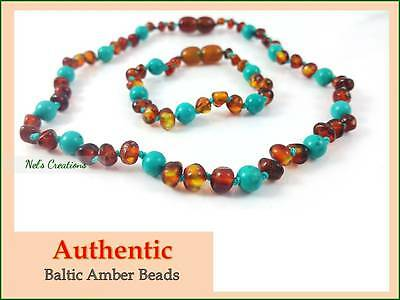 Amber Teething Necklace Certified Genuine Baltic Beads Child, Turquoise & Cognac