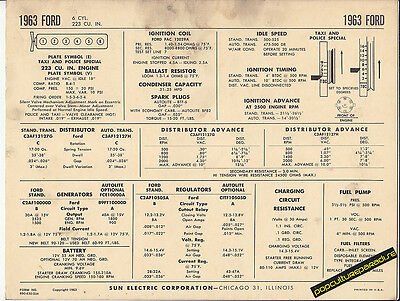 1963 FORD 6 Cylinder 223 TAXI & POLICE SPECIAL Car SUN ELECTRONIC SPEC SHEET