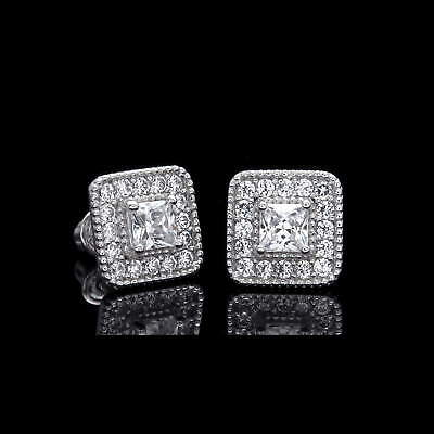 0.5ct Princess Created Diamond Square Earrings 14k White Gold Screwback Studs