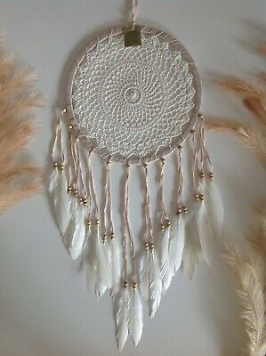 Handmade Light Brown & White 32cm x 85cm Crochet Boho Chic Dream Catcher