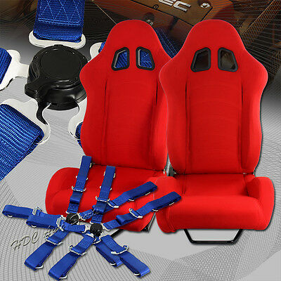 Universal TYPE-1 Style Red Cloth Racing Seat + 5-Point Cam Lock Blue Seat Belt