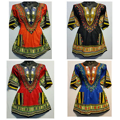 Woman African Dashiki Print Short Dress Top Shirt Elastic Waist Free Size