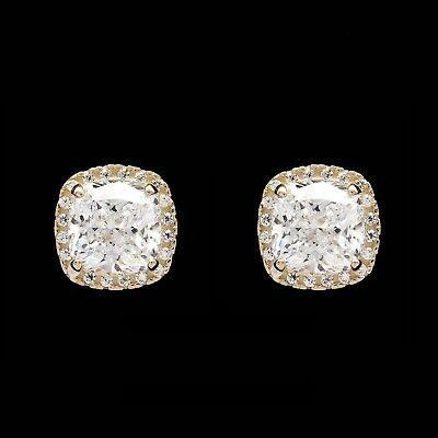 Cushion Halo Round 1CTW Created Diamond Stud Earrings 14K Yellow Gold Screwback