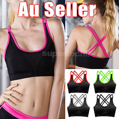 Women Sports Bra Fitness Yoga Crop Tops Tank Gym Jogging Stretch Padded Seamless