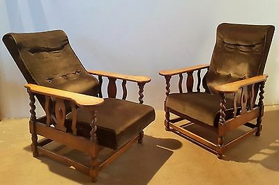 A Pair of  Oak Barley Twist  Steamer Chairs / Reclining Armchairs