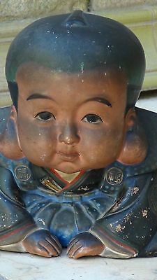 EARLY 20c JAPANESE CERAMIC GLAZED SEATED  SMALL BOY STATUE,ARTIST'S SEAL ON BACK