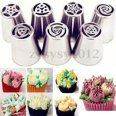 7Pcs Russian Tulip Icing Piping Nozzle Stainless Tip Flower Cake Decorating Tool