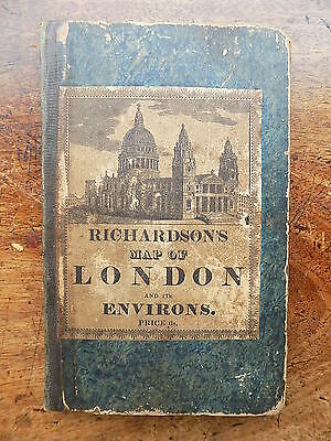 c1820 Richardson's Map London Street Plan Old Antique Original Colouring Covers