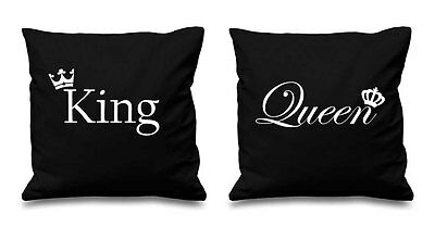 Black King And Queen Crown Cushion Covers Couples Present Bedroom Valentines