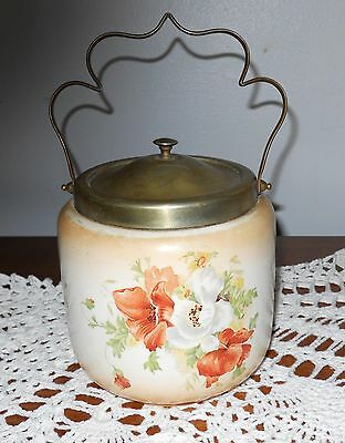 Vintage Biscuit / Cracker Jar F.s. & Co England Hand Painted Poppies