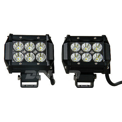 Pair 4inch CREE18W LED WORK LIGHT BAR Flood Beam Slide ATV SUV Driving Boat UTE