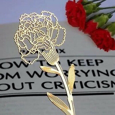 Elegant Metal Carnations Shape Hollow Bookmark For Mother'S Day Gifts 3Pcs