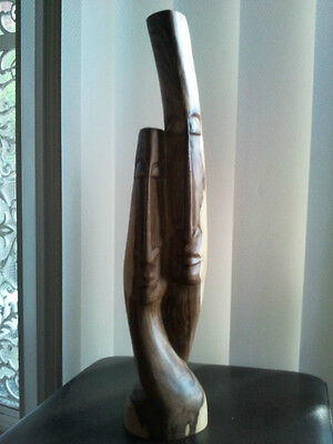 VINTAGE Unusual Wooden Hand Carved 2 Faces Sculpture/Statue