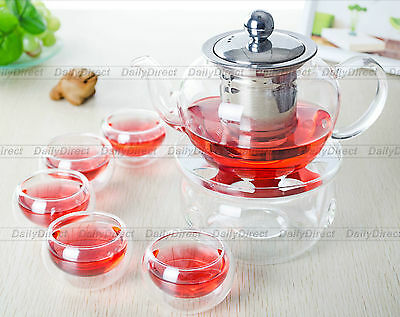 8in1 Tea Set -400ml Glass Teapot w/ Stainless steel Infuser+6x Cups+Round Warmer