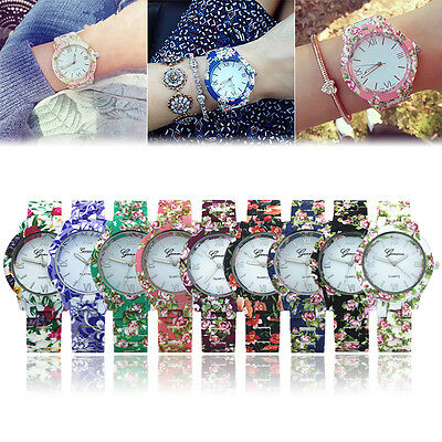 Country style GENEVA Fashion Flower Printed Women Quartz Dress Bracelet watches