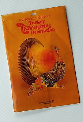 NIP Vtg THANKSGIVING Honeycomb Turkey PAPER DECORATION American Greetings